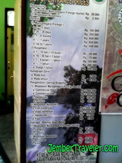 Daftar Harga yang harus Dibayar oleh Pengunjung