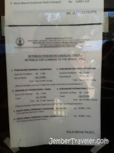 Daftar harga retribusi