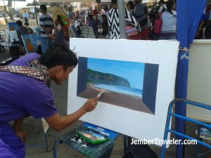Pelukis lokal yang melukis Pantai Parangtritis