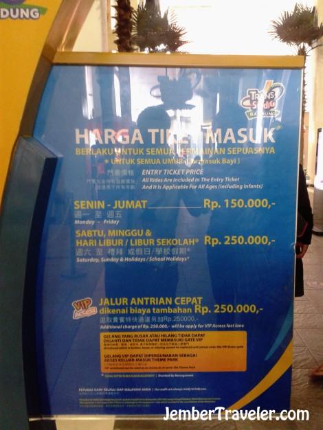 Harga tiket. (Keterangan : Januari 2014)