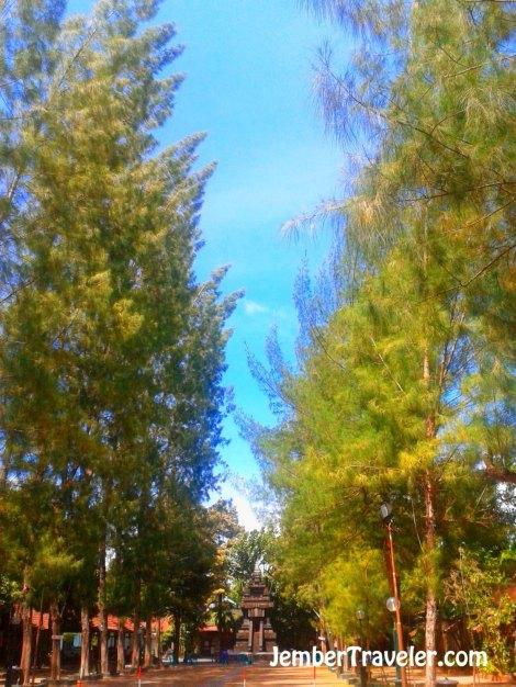 Halaman di depan candi. Sejuk karena pepohonan yang rindang.